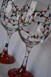 hand painted christmas lights wine glass pair jars christmas wine glasses and glasses
