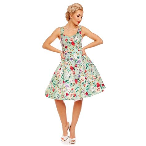 Natalie Retro Floral Swing Dress in Green Floral ...