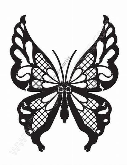 Butterfly Stencil Clip Vector Clipart Lace Graphic