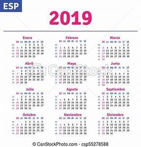 Calendário, 2019, espanhol Espanhol, vetorial, 2019