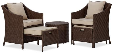 patio chairs with ottoman 5pc patio set table chairs ottomans rattan weather