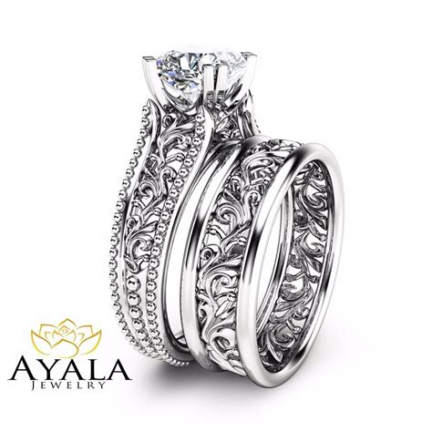 cushion wedding ring unique 14k white gold engagement rings ebay