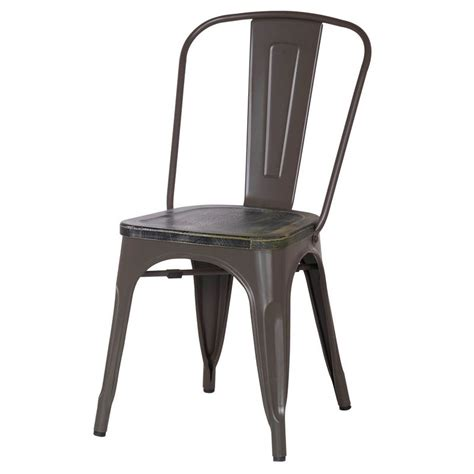 frosted brown metal stacking dining chairs with wooden