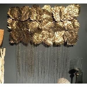 Décoration Murale Dorée : arqitecture m tal d coration murale feuilles d coration feng shui ~ Teatrodelosmanantiales.com Idées de Décoration