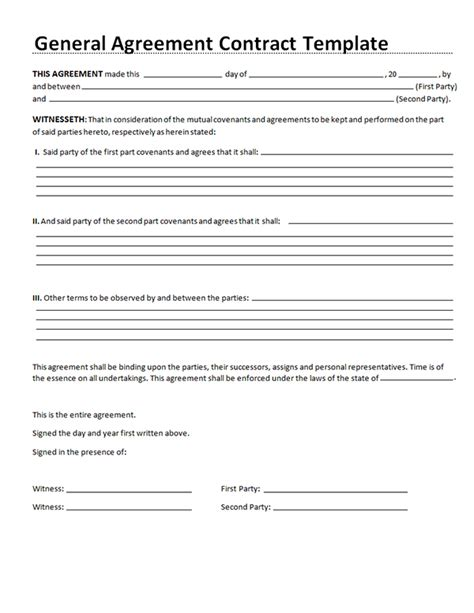 sample general agreement contract general agreement