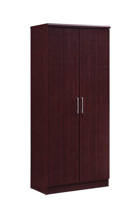Black Wardrobe With Shelves by Hodedah Hid8600 2 Door Wardrobe With Adjustable Removable
