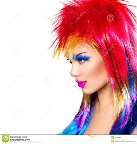 Punk Model Girl With Colorful Dyed Hair Stock Image