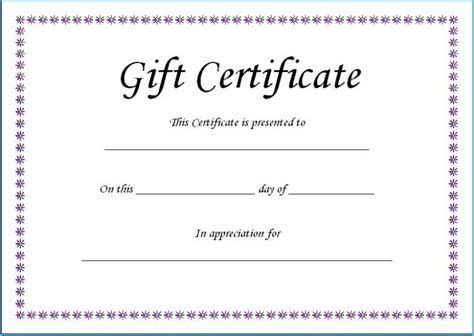 fillable gift certificate template    images
