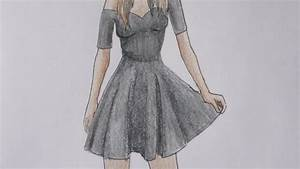 HOW TO DRAW a girl in a black dress - YouTube