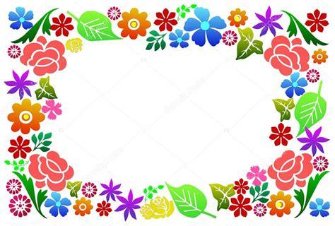 cornici fiori cornice di fiori colorati su fondo bianco foto stock
