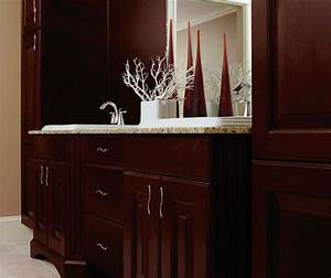 Espresso cabinets in casual bathroom kitchen craft for Kitchen craft bathroom vanities