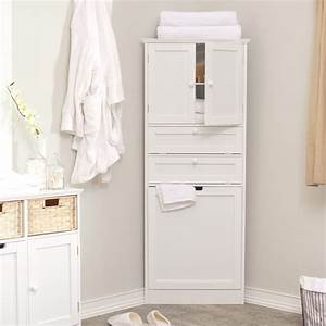 Wood Tall Corner Bathroom Storage Cabinet With Door And