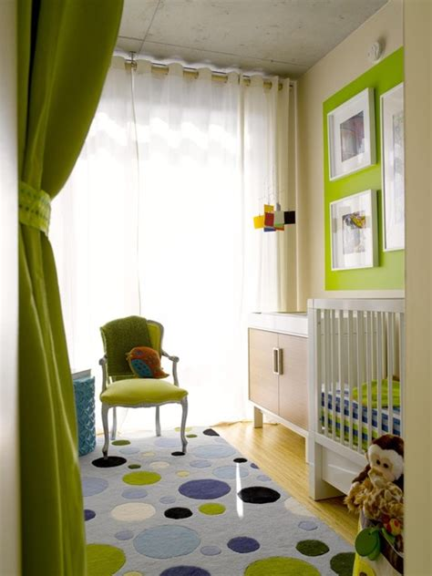 Nursery wall decor is a great way to brighten up your baby's room. Brilliant Green Boy Nursery Nursery Contemporary with Louis Chair Window Treatments Ideas For ...