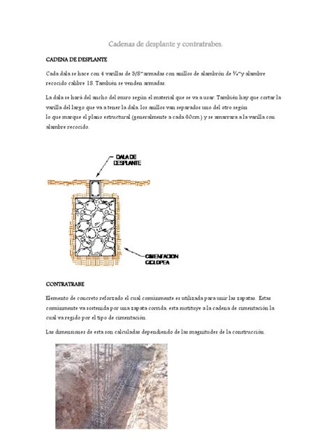 cadenas de desplante  contratrabes