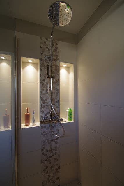 rideaux cuisine gris salle de bain melun niche dans la avec spots led contemporain salle de bain