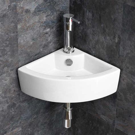 wall mounted small cloakroom corner basin sink bathroom