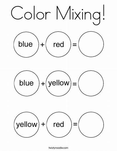 Mixing Coloring Preschool Printable Twistynoodle Pages Worksheet