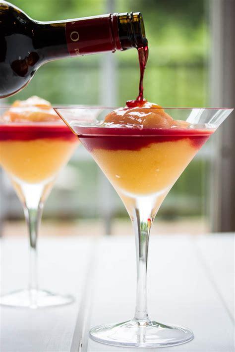 peach bellini  red wine homemade raspberry liqueur
