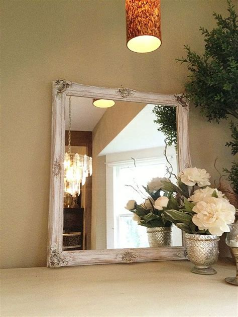 SHABBY CHIC Chalk Paint Mirror, White Ornate Gold Baroque