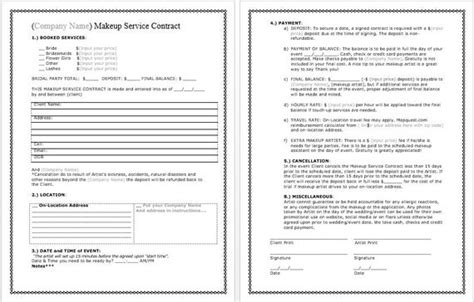 bridal makeup contract template docx file