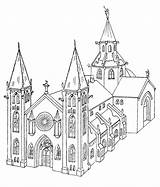 Coloring Churches Pages Church Medieval Adult Drawing Drawings Getdrawings Buildings Building Colouring Adults sketch template