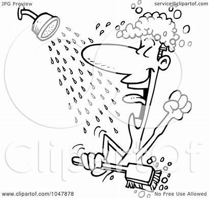 Shower Singing Cartoon Outline Guy Clip Illustration