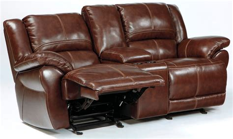 Glider Reclining Loveseat With Console by Lenoris Coffee Glider Reclining Loveseat With Console From
