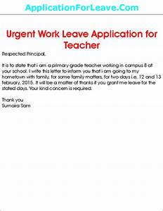 Leave Application by Teacher in