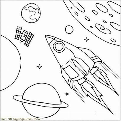 Coloring Spaceship Satellite Space Drawing Shuttle Ship