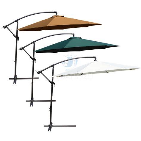 3m garden parasol cantilever hanging sun shade patio umbrella for outdoor dining ebay