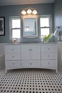 traditional black and white tile bathroom remodel With houzz black and white bathroom
