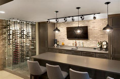 contemporary game room  wet bar  vertical wine
