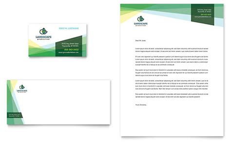 landscaper business card letterhead template design