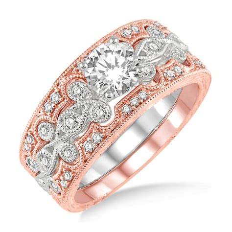 carat vintage trio bridal set engagement ring