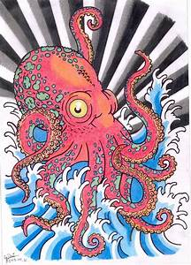 A big red octopus tattoo design, in japanese style.   Tato ...