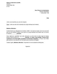 exemple gratuit de lettre refus par employeur demande - Modèle Lettre Abandon Formation