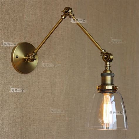 retro vintage two swing arm wall l glass shade sconces