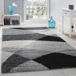 Shaggy Hochflor Teppich : shaggy geometrisch gemustert grau hochflor teppiche ~ Markanthonyermac.com Haus und Dekorationen