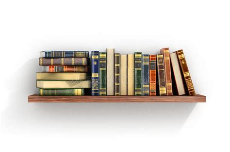 on the shelf book colorful books on the wood shelf stock illustration