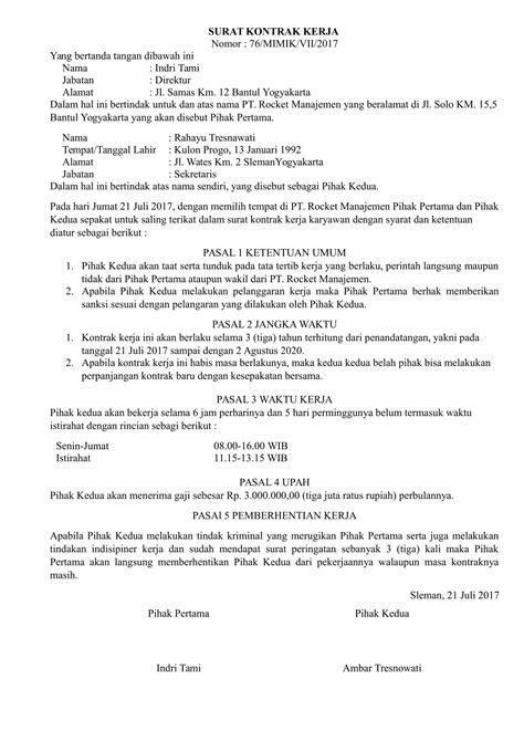 gambar contoh surat pernyataan kontrak kerja   ide