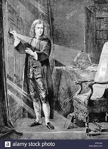 Sir Isaac Newton (1642-1727) examining the nature of light ...