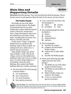 main idea  supporting details worksheet
