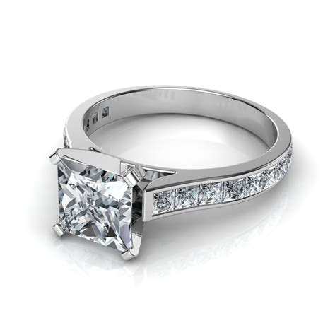 princess cut engagement ring with 16 side diamonds natalie