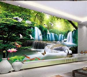 3D waterfalls water wallpaper custom hd beautiful lotus ...