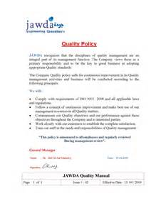 ISO Quality Policy Statement Examples