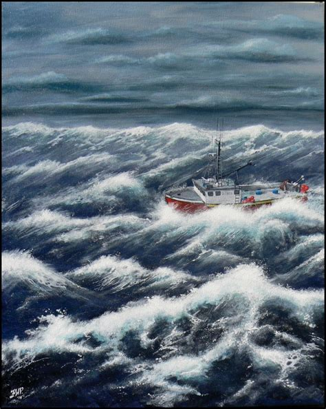 Lobster Boat In Rough Seas by Fwperry Creative Projects Paintings