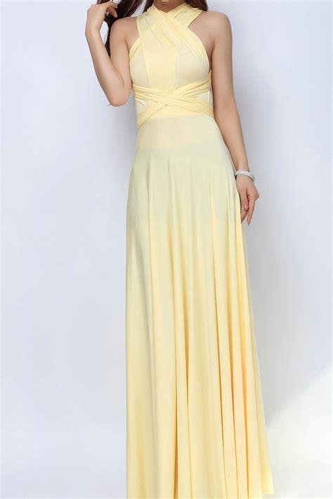 Light Yellow Long Convertible Dress Bridesmaid Dress [lg-08] - $73.80  Infinity Dress ...