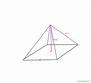 Pyramide Höhe Berechnen : pyramide in einer quadratischen pyramide sind h 0 8cm und s 1cm gegeben mathelounge ~ Themetempest.com Abrechnung