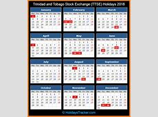 Trinidad and Tobago Stock Exchange TTSE Holidays 2018