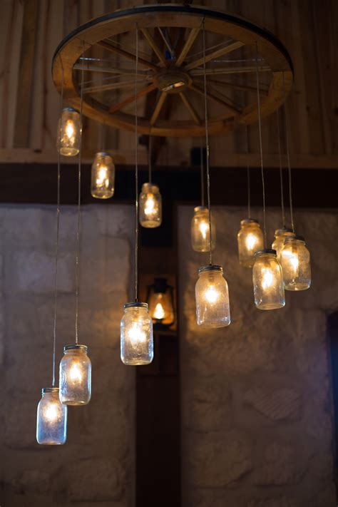 wagon wheel jar chandelier